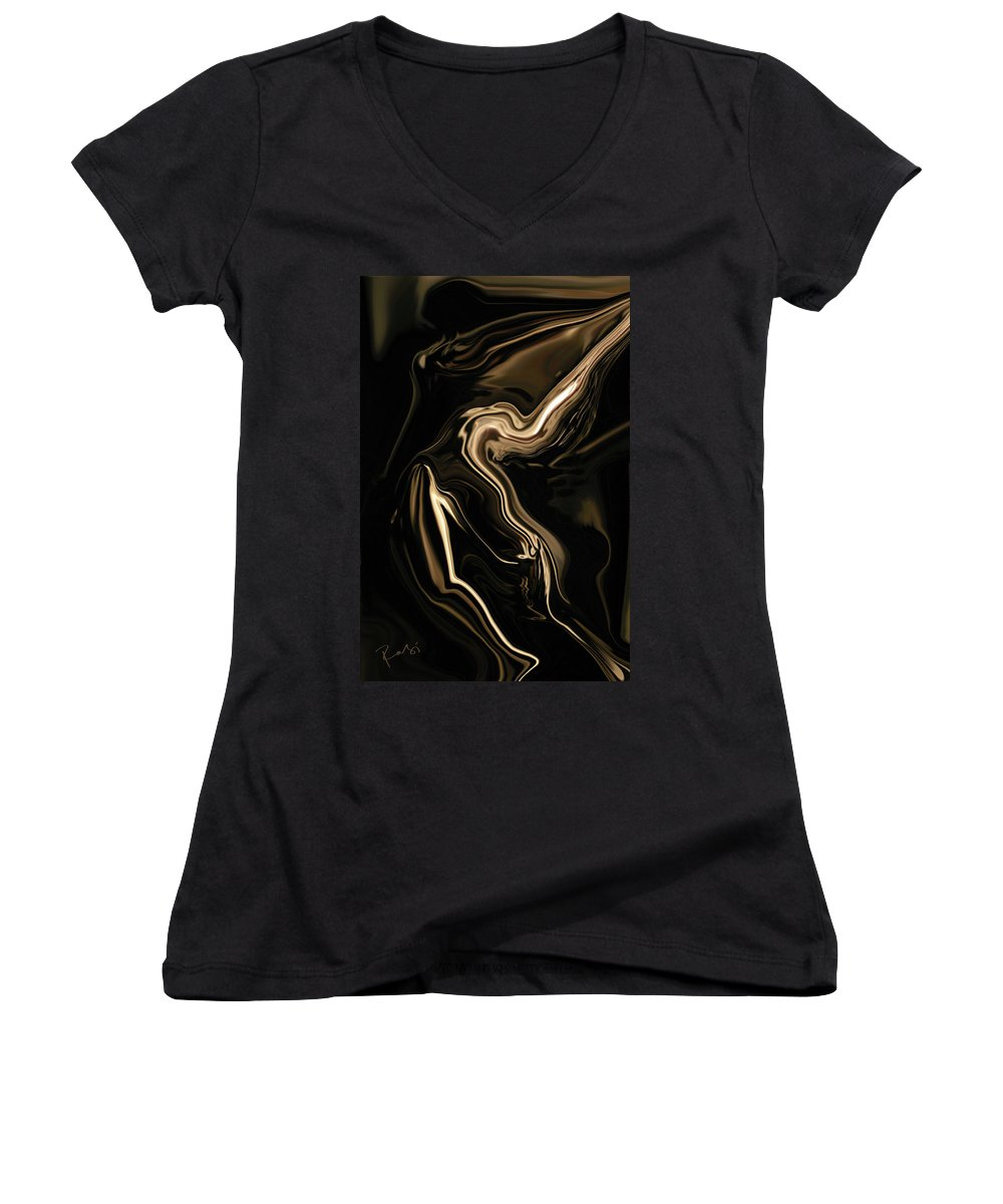 Abstract Women's V-Neck T-Shirt featuring the digital art Butterfly Girl by Rabi Khan