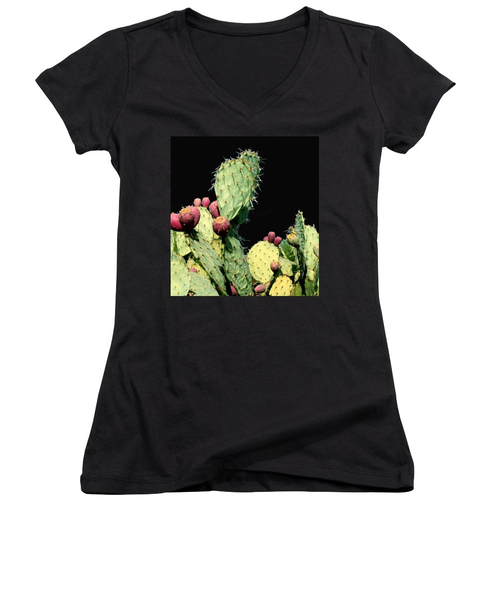 Cactus Women's V-Neck T-Shirt featuring the photograph Cactus Two by Wayne Potrafka