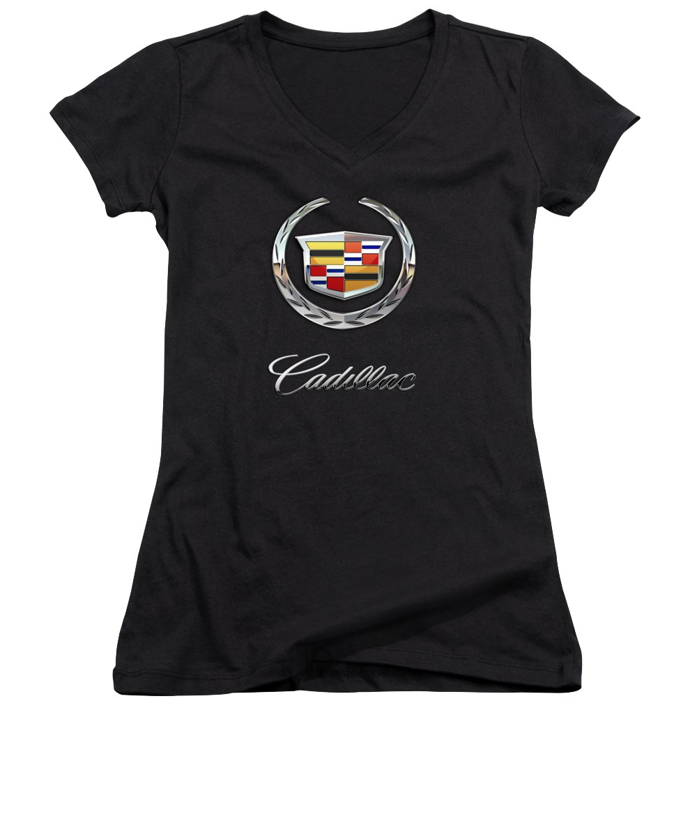 'wheels Of Fortune' By Serge Averbukh Women's V-Neck featuring the photograph Cadillac - 3 D Badge On Black by Serge Averbukh