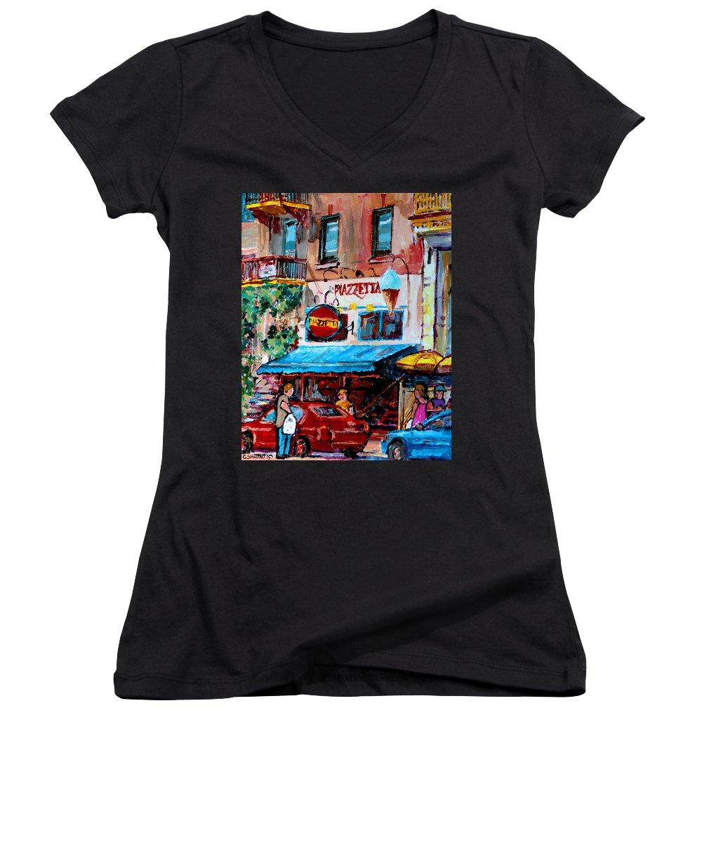 Cafes On St Denis Paris Cafes Women's V-Neck T-Shirt featuring the painting Cafe Piazzetta St Denis by Carole Spandau
