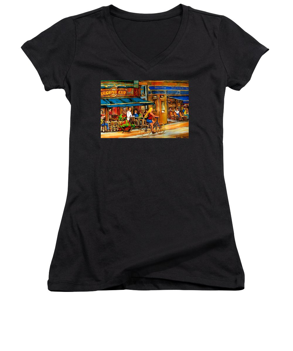 Cafes Women's V-Neck T-Shirt featuring the painting Cafes With Blue Awnings by Carole Spandau