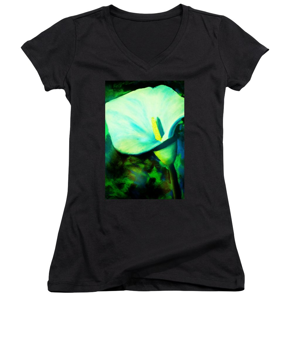White Calla Lily Women's V-Neck T-Shirt featuring the painting Calla Lily by Melinda Etzold