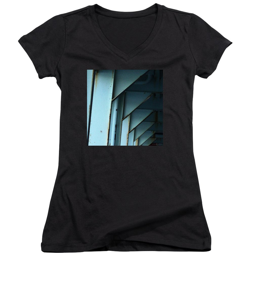 Ferry Women's V-Neck T-Shirt featuring the photograph Car Ferry by Tim Nyberg