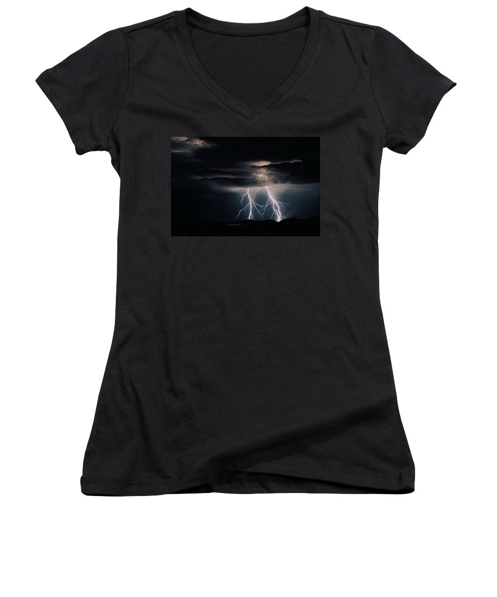 Arizona Women's V-Neck T-Shirt featuring the photograph Carefree Lightning by Cathy Franklin