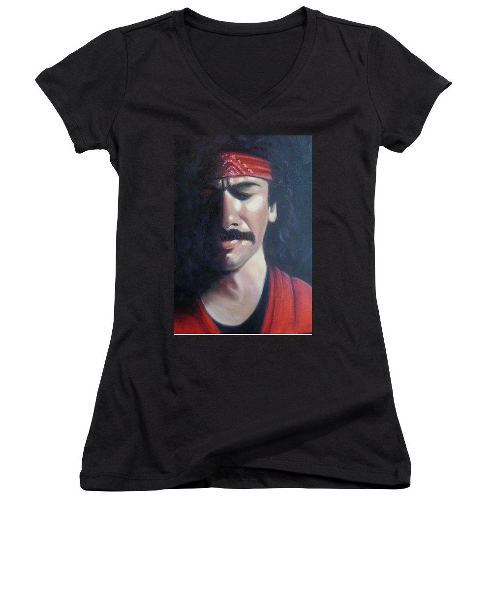 Santana Women's V-Neck T-Shirt featuring the painting Carlos Santana by Toni Berry