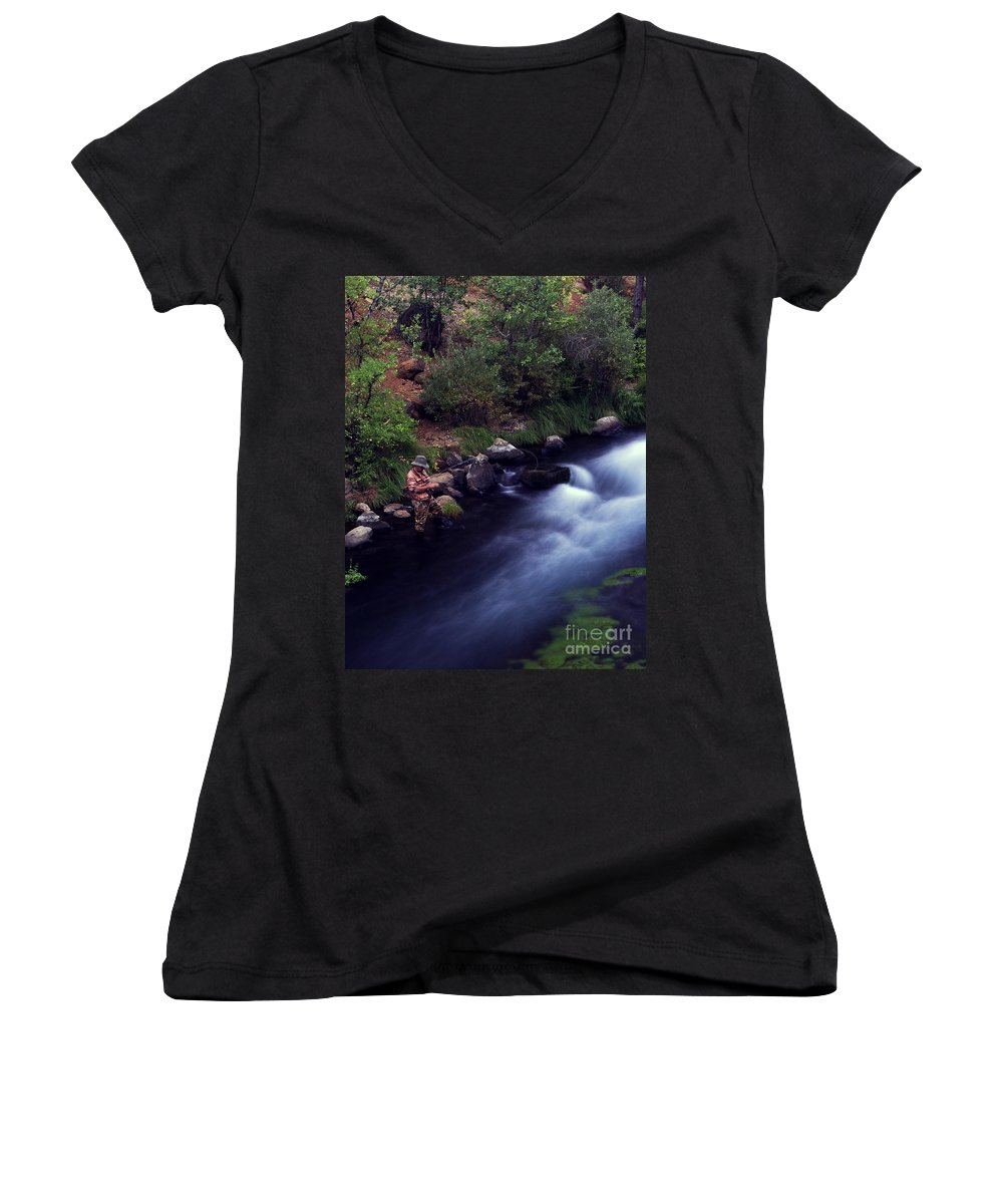 Fishing Women's V-Neck T-Shirt featuring the photograph Casting Softly by Peter Piatt