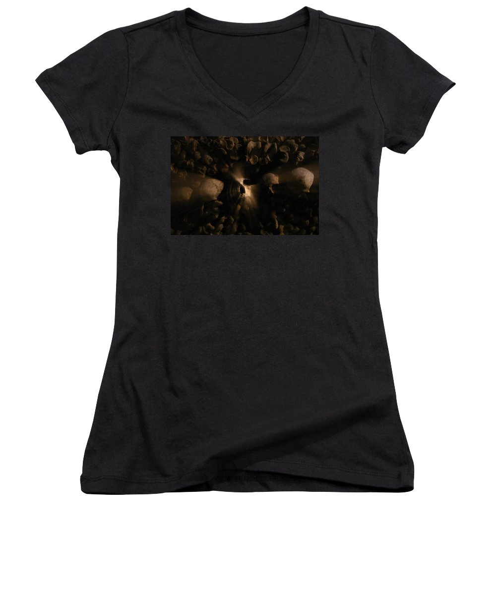 Women's V-Neck T-Shirt featuring the photograph Catacombs - Paria France 3 by Jennifer McDuffie