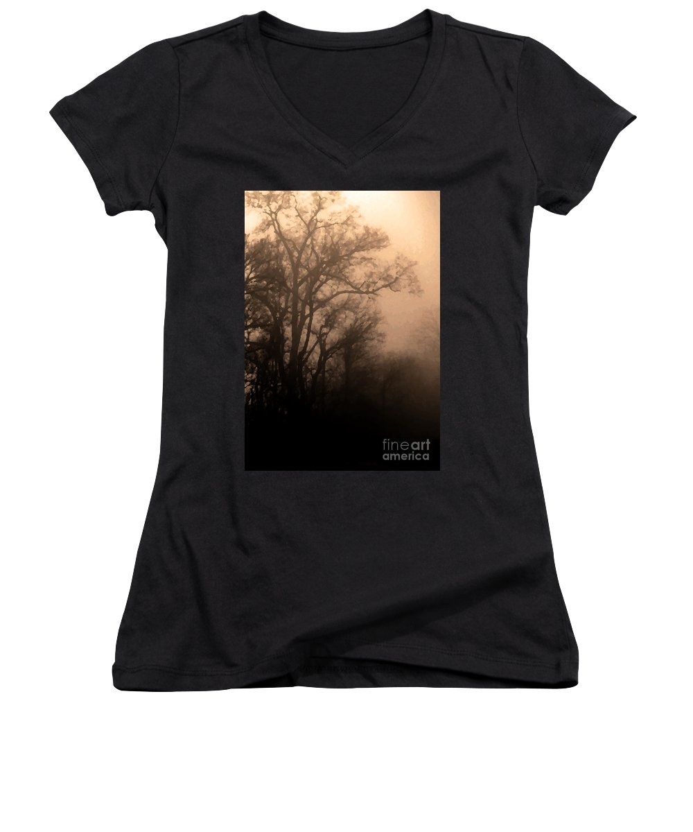 Soft Women's V-Neck T-Shirt featuring the photograph Caught Between Light And Dark by Amanda Barcon
