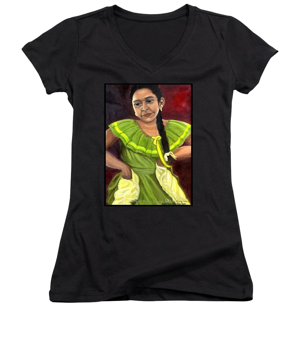Women's V-Neck (Athletic Fit) featuring the painting Cecelia by Toni Berry