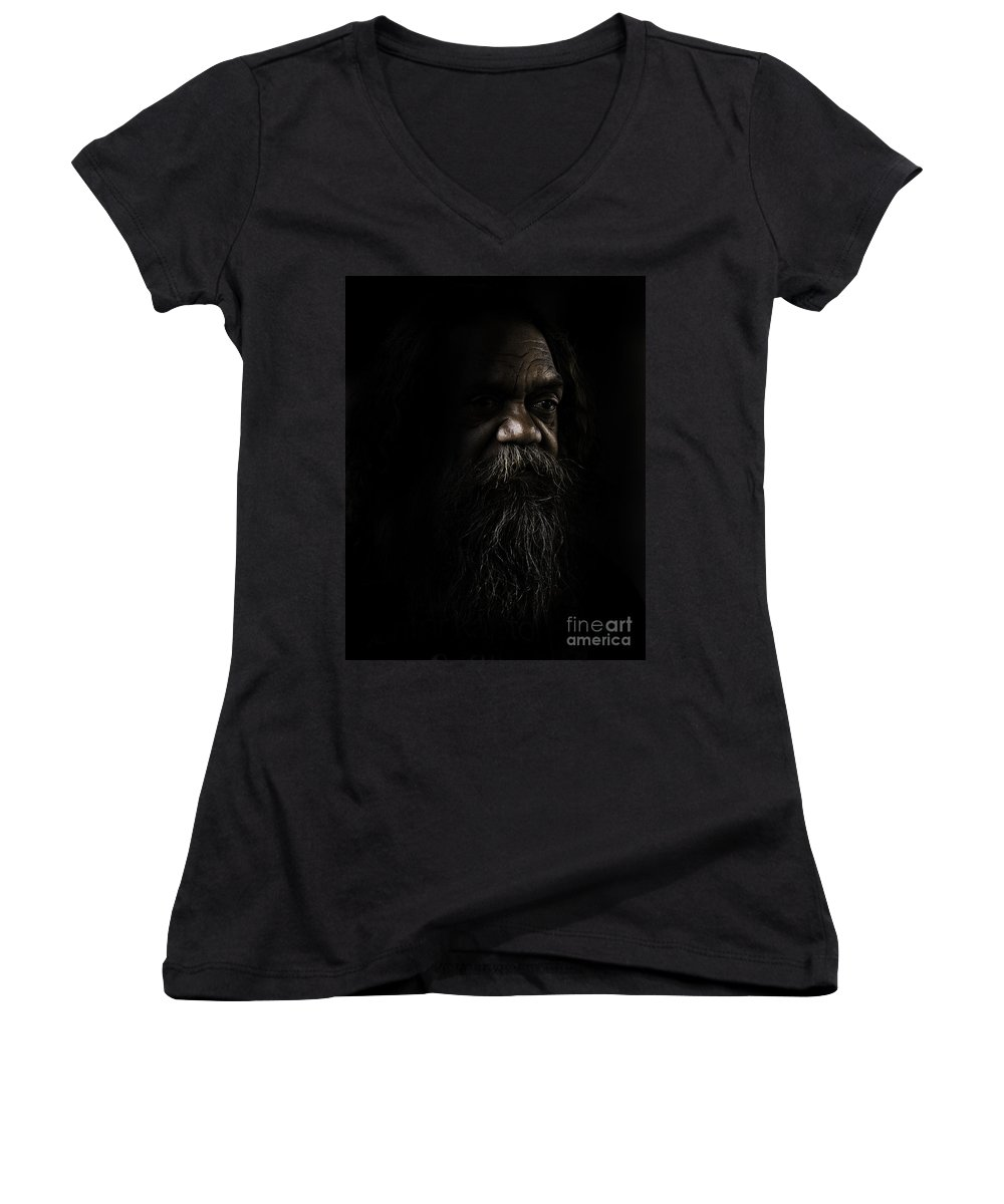 Fullblood Aborigine Women's V-Neck (Athletic Fit) featuring the photograph Cedric In Shadows by Sheila Smart Fine Art Photography
