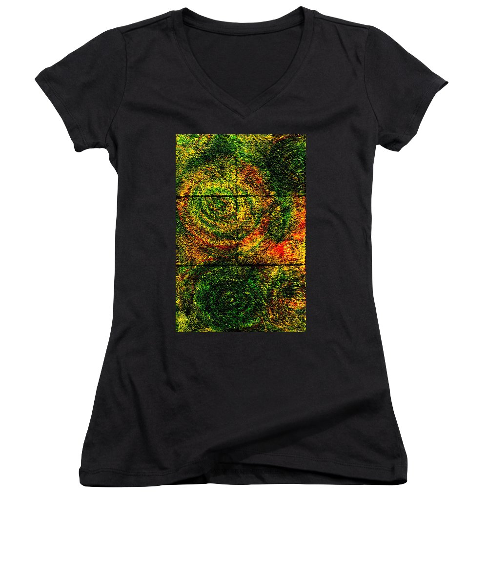 Abstract Women's V-Neck (Athletic Fit) featuring the painting Celestial Grid by Wayne Potrafka