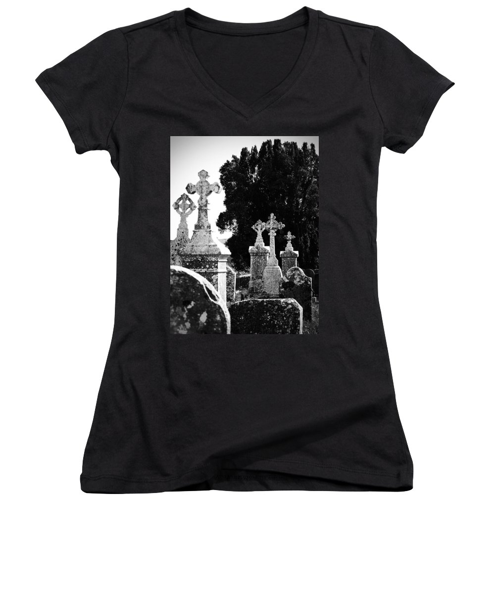Celtic Women's V-Neck T-Shirt featuring the photograph Celtic Crosses At Fuerty Cemetery Roscommon Ireland by Teresa Mucha