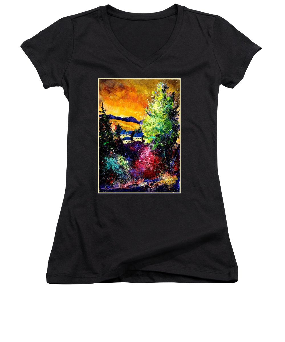 Landscape Women's V-Neck T-Shirt featuring the painting Charnoy by Pol Ledent