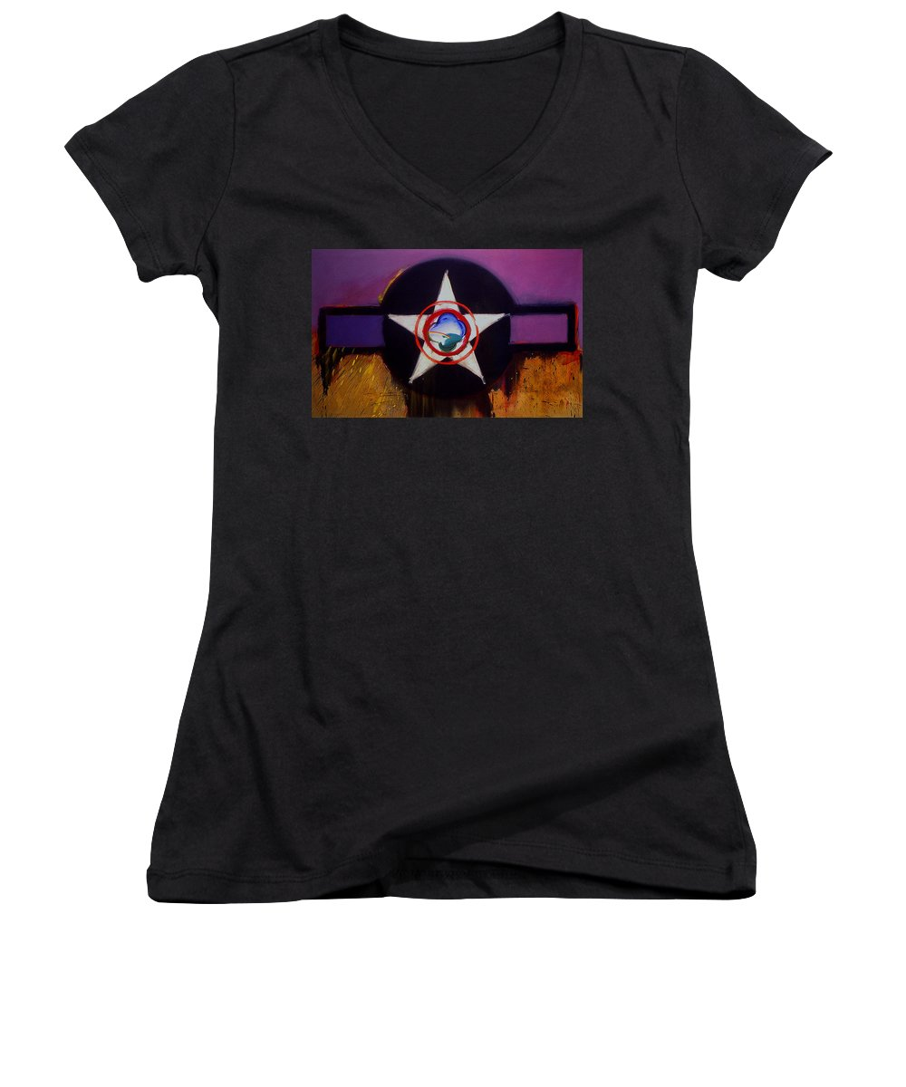 Air Force Insignia Women's V-Neck T-Shirt featuring the painting Cheyenne Autumn by Charles Stuart