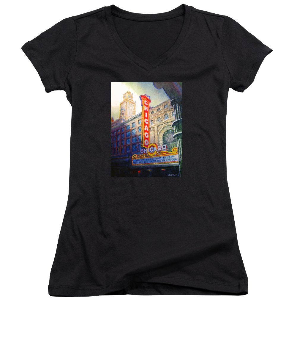 Chicago Women's V-Neck (Athletic Fit) featuring the painting Chicago Theater by Michael Durst