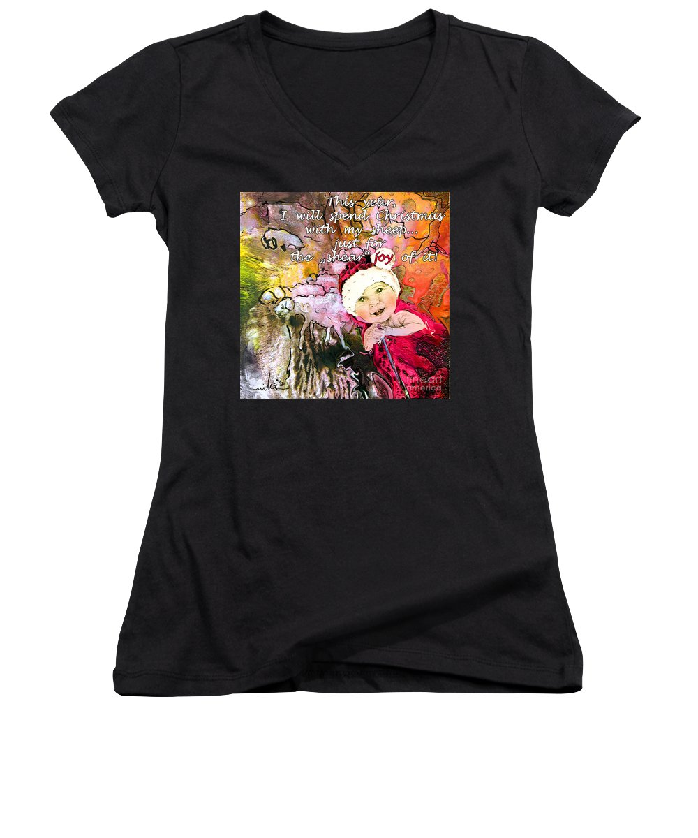 Acrylics Women's V-Neck (Athletic Fit) featuring the painting Christmas With My Sheep by Miki De Goodaboom