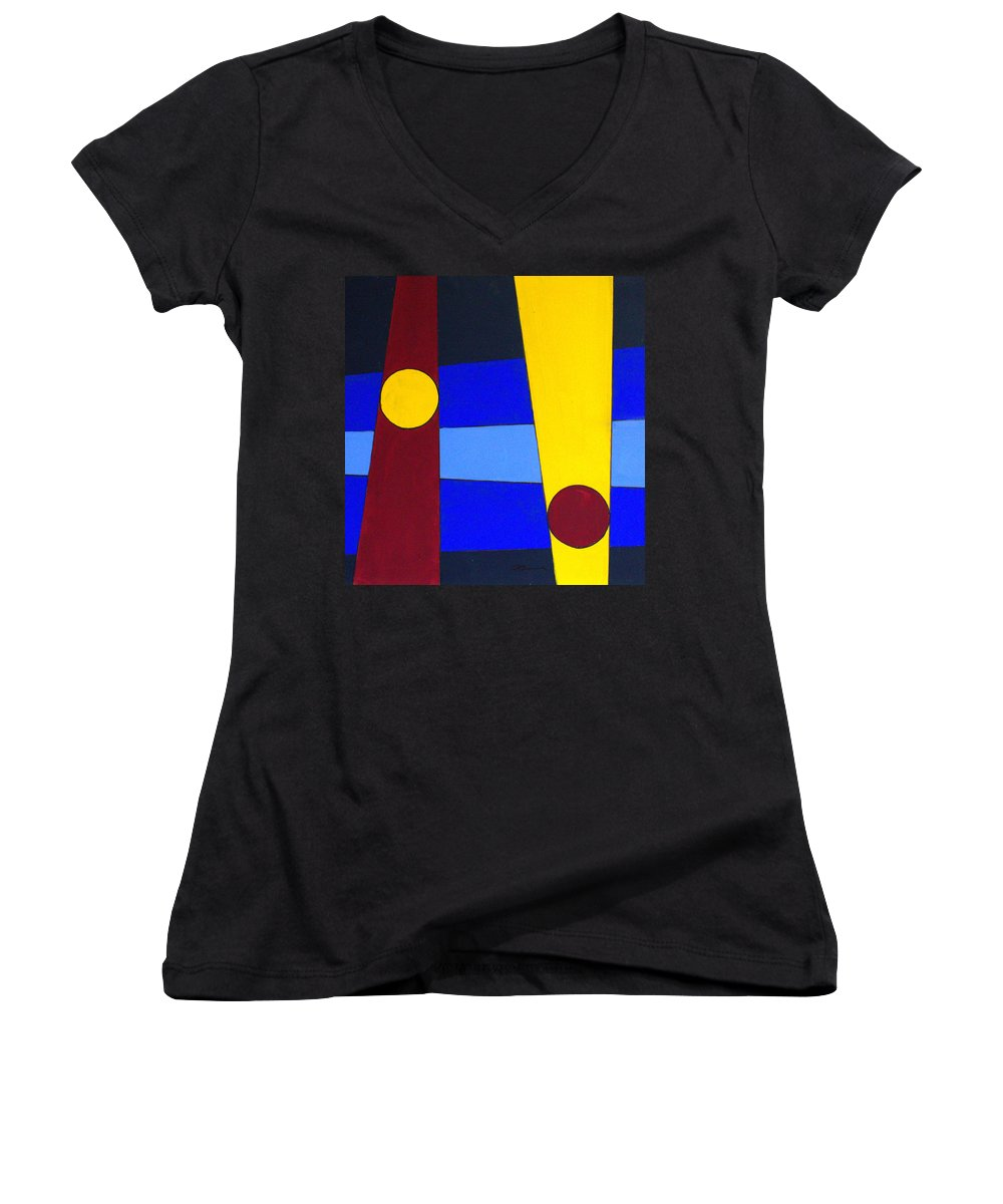 Abstract Women's V-Neck T-Shirt featuring the painting Circles Lines Color by J R Seymour