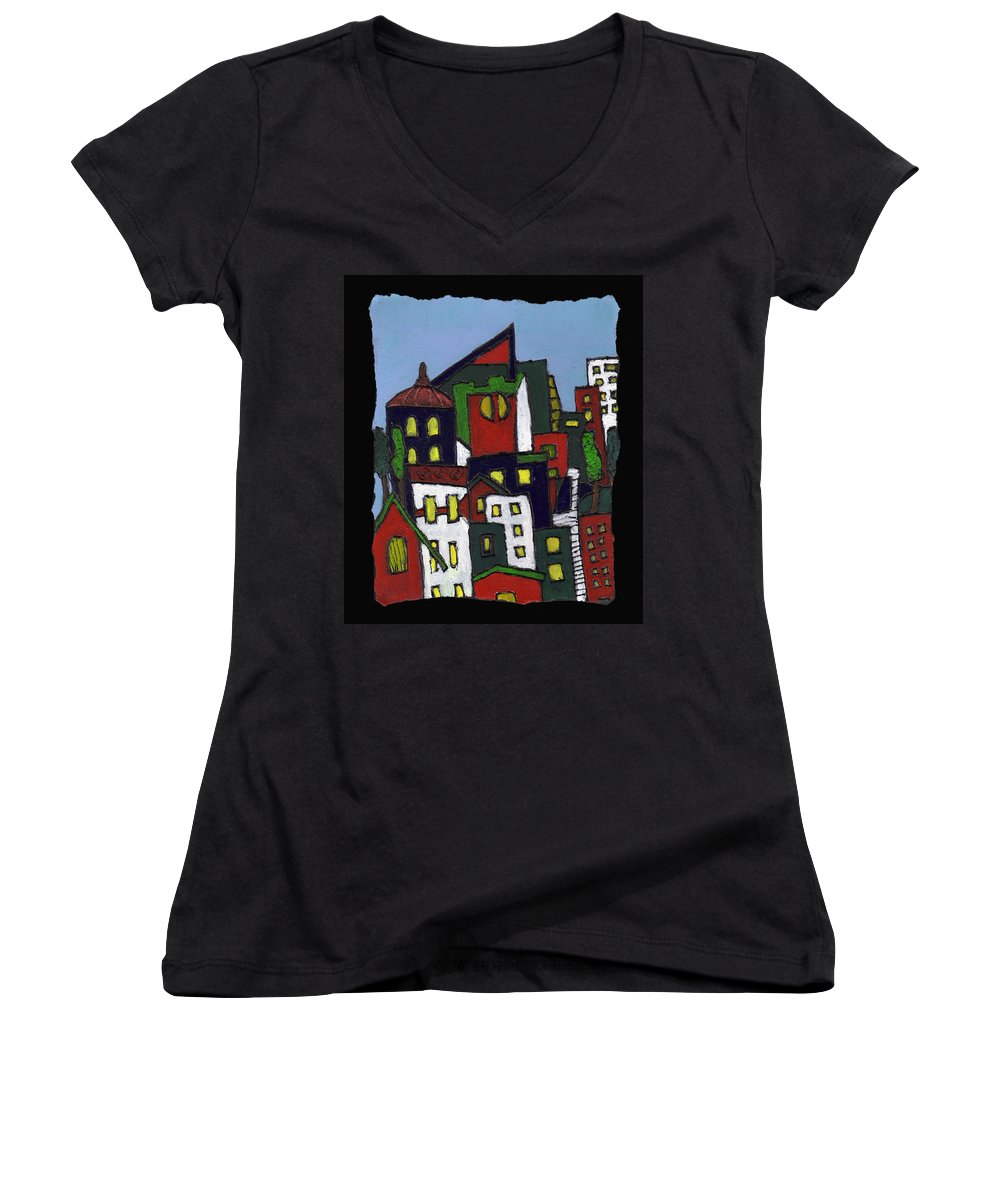 City Women's V-Neck T-Shirt featuring the painting City At Christmas by Wayne Potrafka