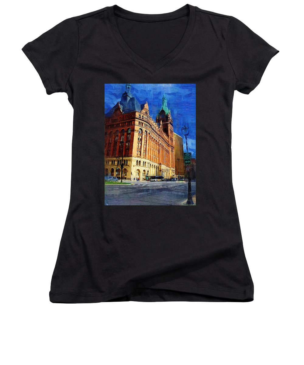 Architecture Women's V-Neck T-Shirt featuring the digital art City Hall And Lamp Post by Anita Burgermeister