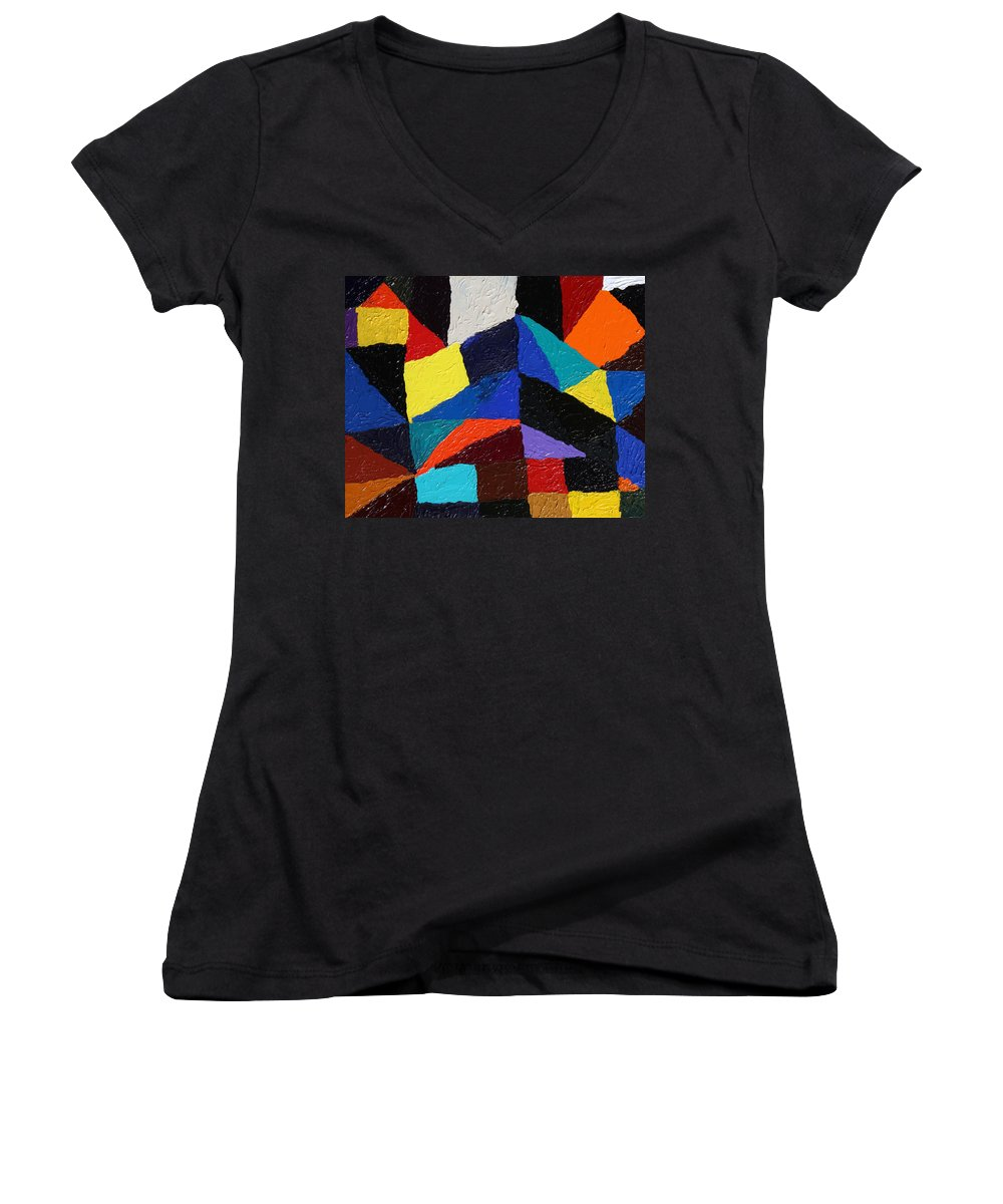 Fusionart Women's V-Neck T-Shirt featuring the painting Cityscape by Ralph White