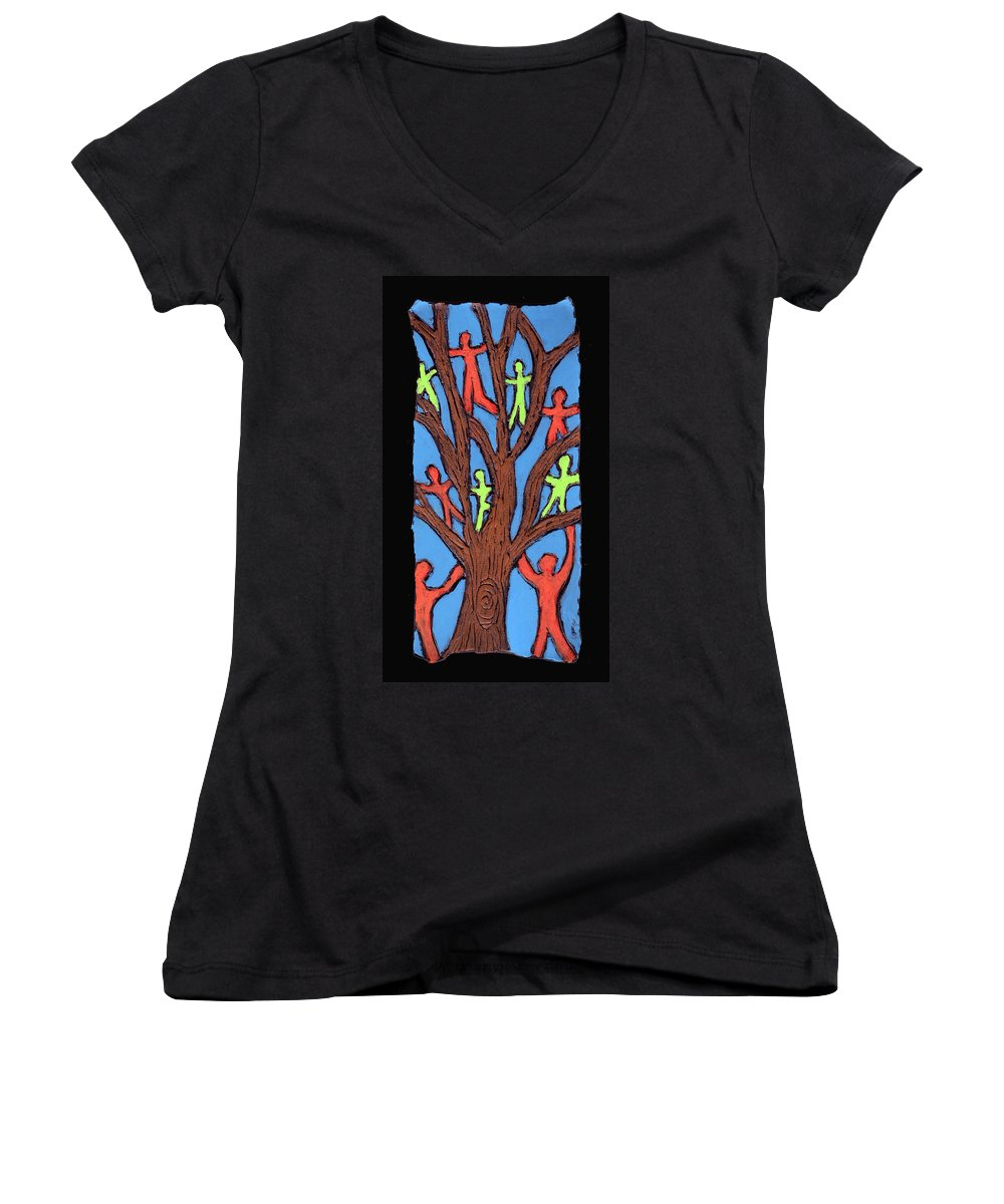 People Women's V-Neck T-Shirt featuring the painting Climbing by Wayne Potrafka