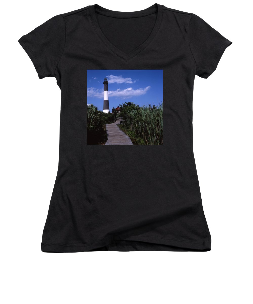 Landscape Lighthouse Fire Island Women's V-Neck T-Shirt featuring the photograph Cnrf0702 by Henry Butz