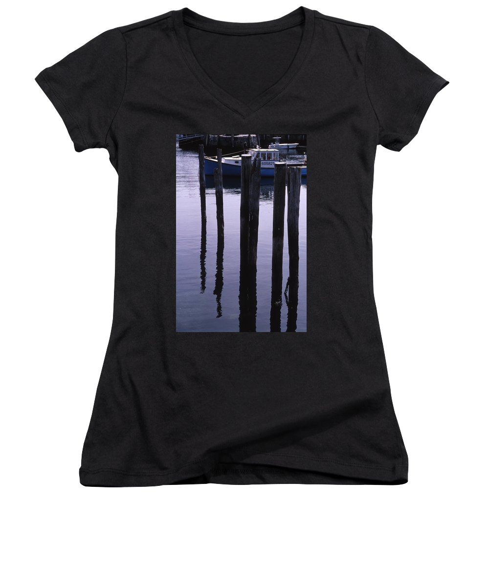 Landscape New England Fishing Boat Nautical Coast Women's V-Neck (Athletic Fit) featuring the photograph Cnrf0907 by Henry Butz