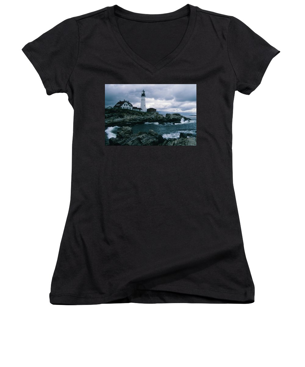 Landscape New England Lighthouse Nautical Storm Coast Women's V-Neck (Athletic Fit) featuring the photograph Cnrg0601 by Henry Butz