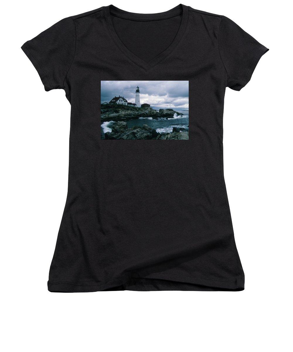Landscape New England Lighthouse Nautical Storm Coast Women's V-Neck T-Shirt featuring the photograph Cnrg0601 by Henry Butz