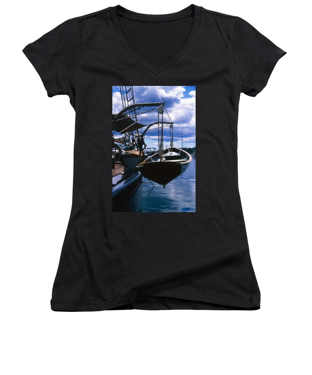 Landscape Camden Harbor Maine Sail Boat Harbor Nautical Women's V-Neck (Athletic Fit) featuring the photograph Cnrh0601 by Henry Butz