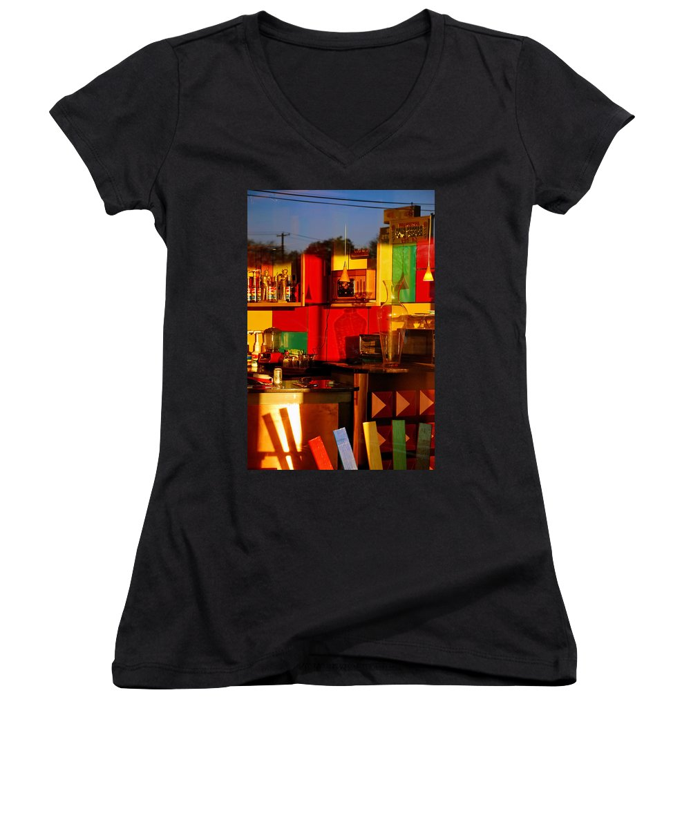 Skip Hunt Women's V-Neck T-Shirt featuring the photograph Coffee Shop by Skip Hunt