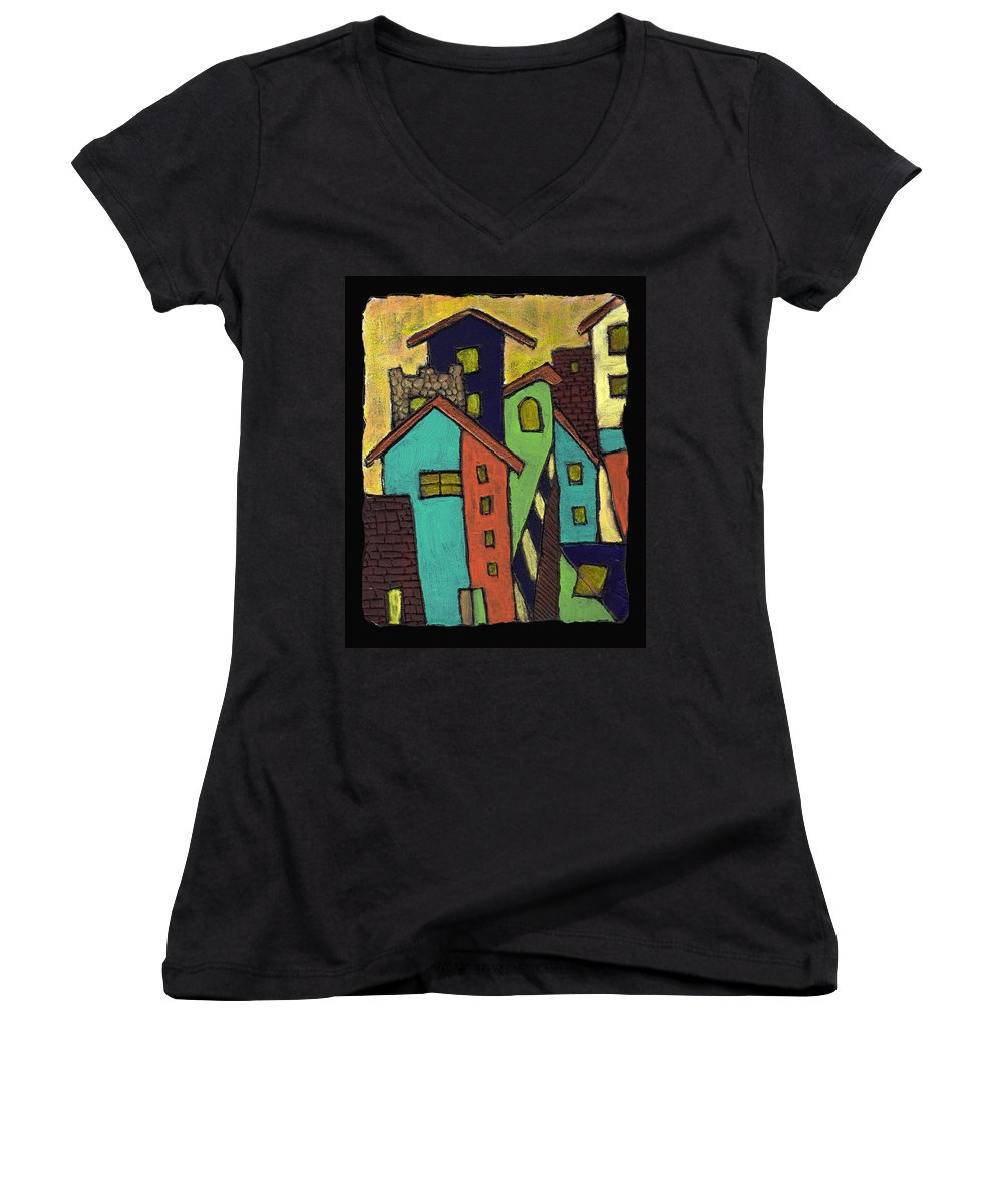 City Women's V-Neck T-Shirt featuring the painting Colorful Neighborhood by Wayne Potrafka