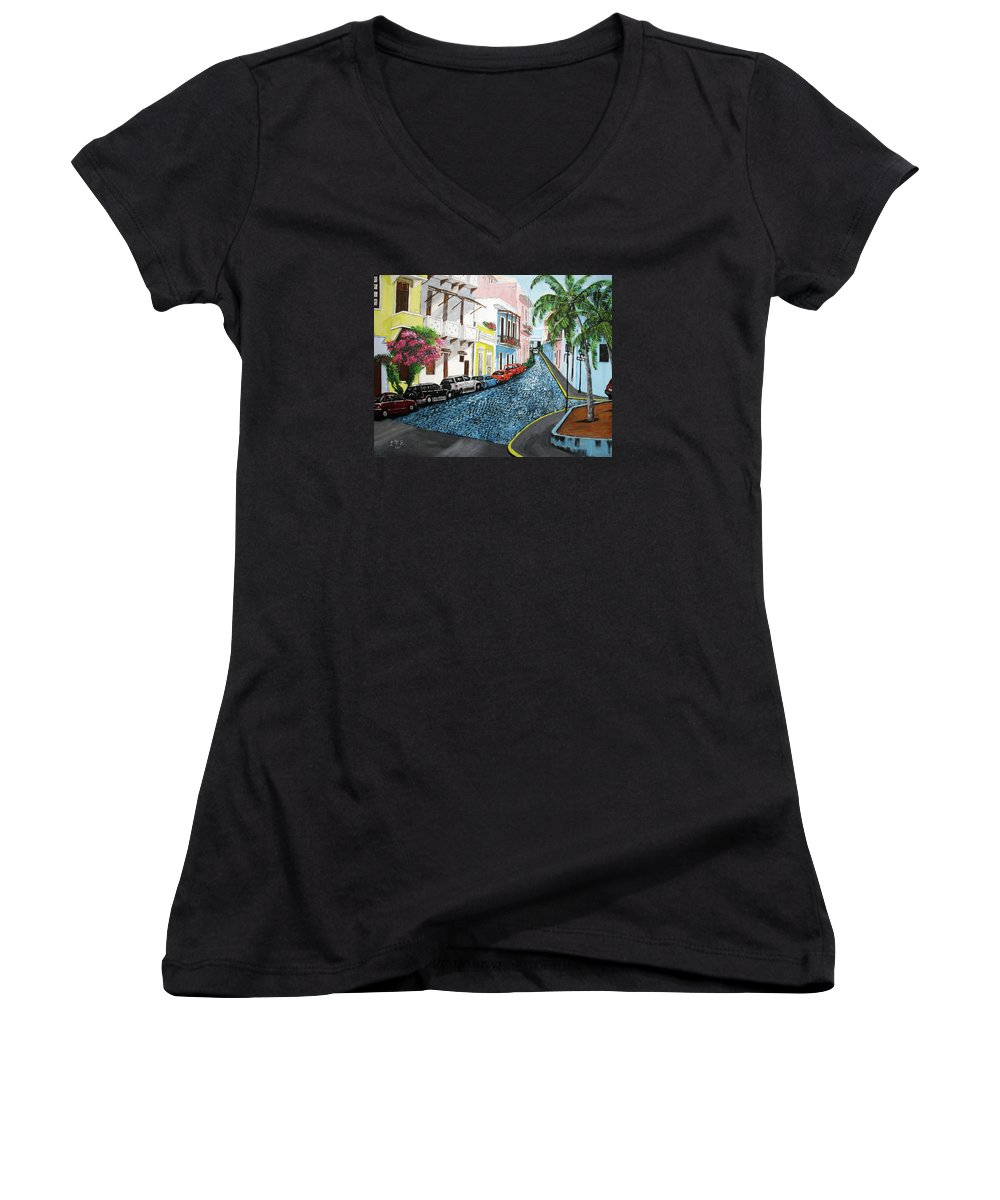 Old San Juan Women's V-Neck (Athletic Fit) featuring the painting Colorful Old San Juan by Luis F Rodriguez