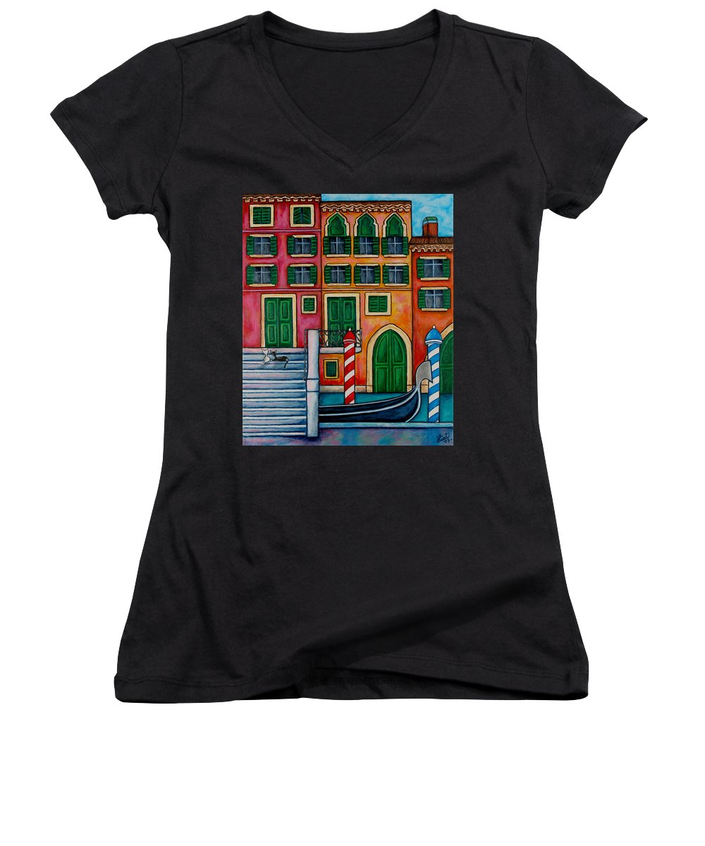 Venice Women's V-Neck T-Shirt featuring the painting Colours Of Venice by Lisa Lorenz