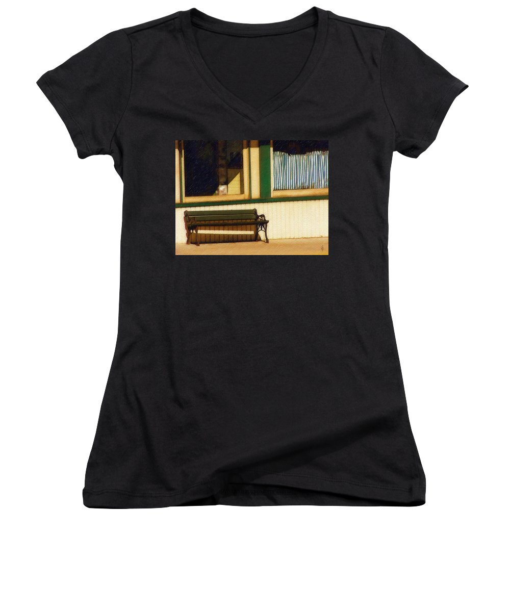 Bench Women's V-Neck T-Shirt featuring the photograph Come Sit A Spell by Sandy MacGowan