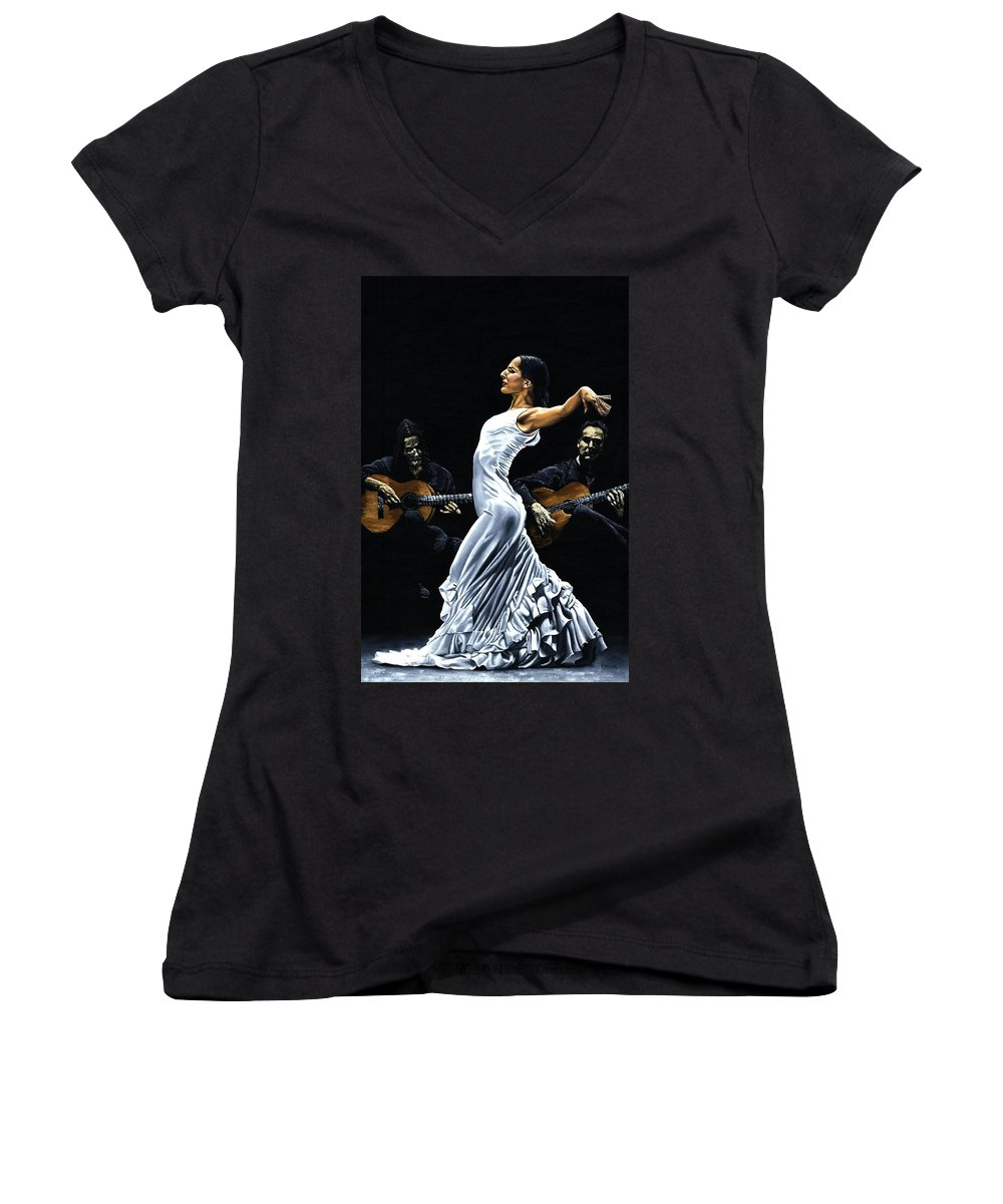 Flamenco Women's V-Neck (Athletic Fit) featuring the painting Concentracion Del Funcionamiento Del Flamenco by Richard Young