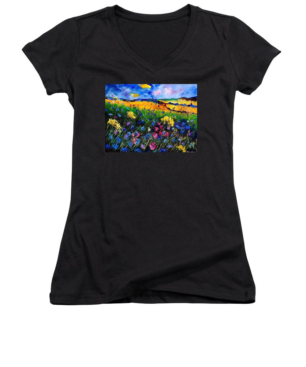 Flowers Women's V-Neck T-Shirt featuring the painting Cornflowers 680808 by Pol Ledent