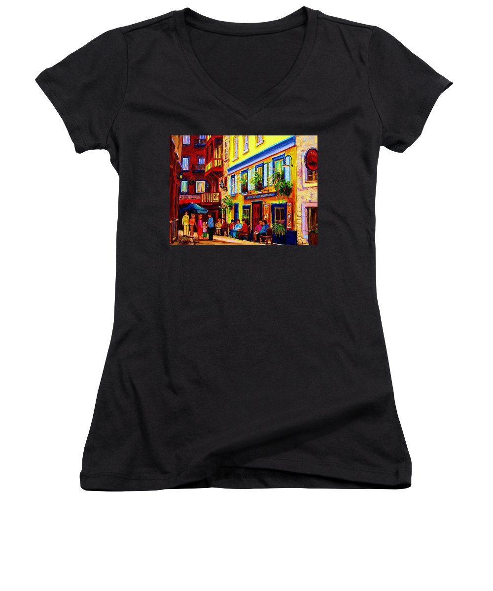Courtyard Cafes Women's V-Neck T-Shirt featuring the painting Courtyard Cafes by Carole Spandau
