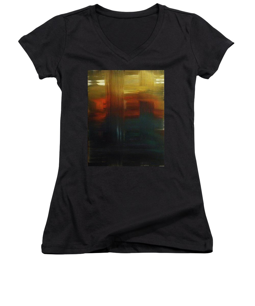 Abstract Women's V-Neck T-Shirt featuring the painting Crossroads by Todd Hoover