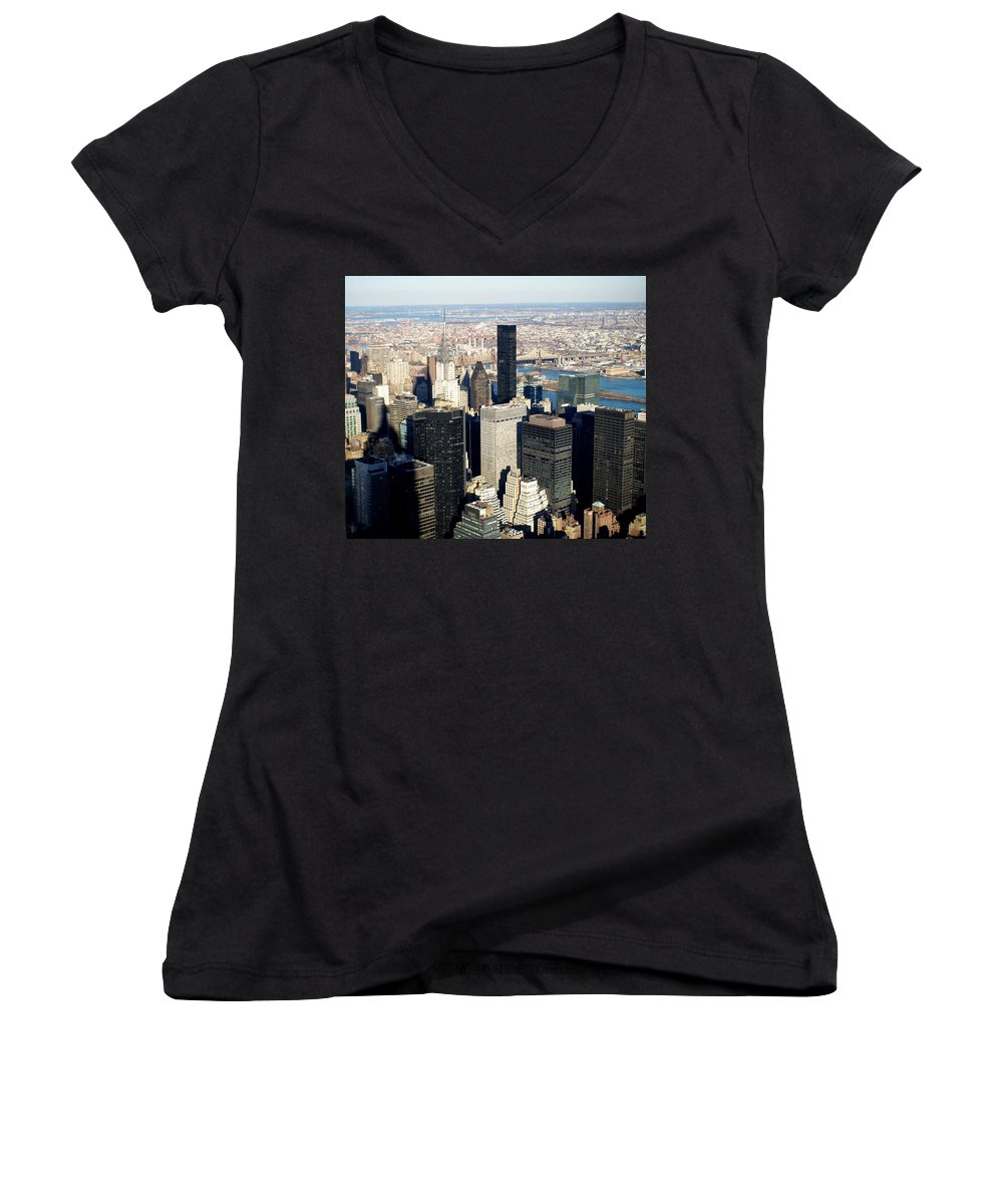 Crystler Building Women's V-Neck (Athletic Fit) featuring the photograph Crystler Building 2 by Anita Burgermeister