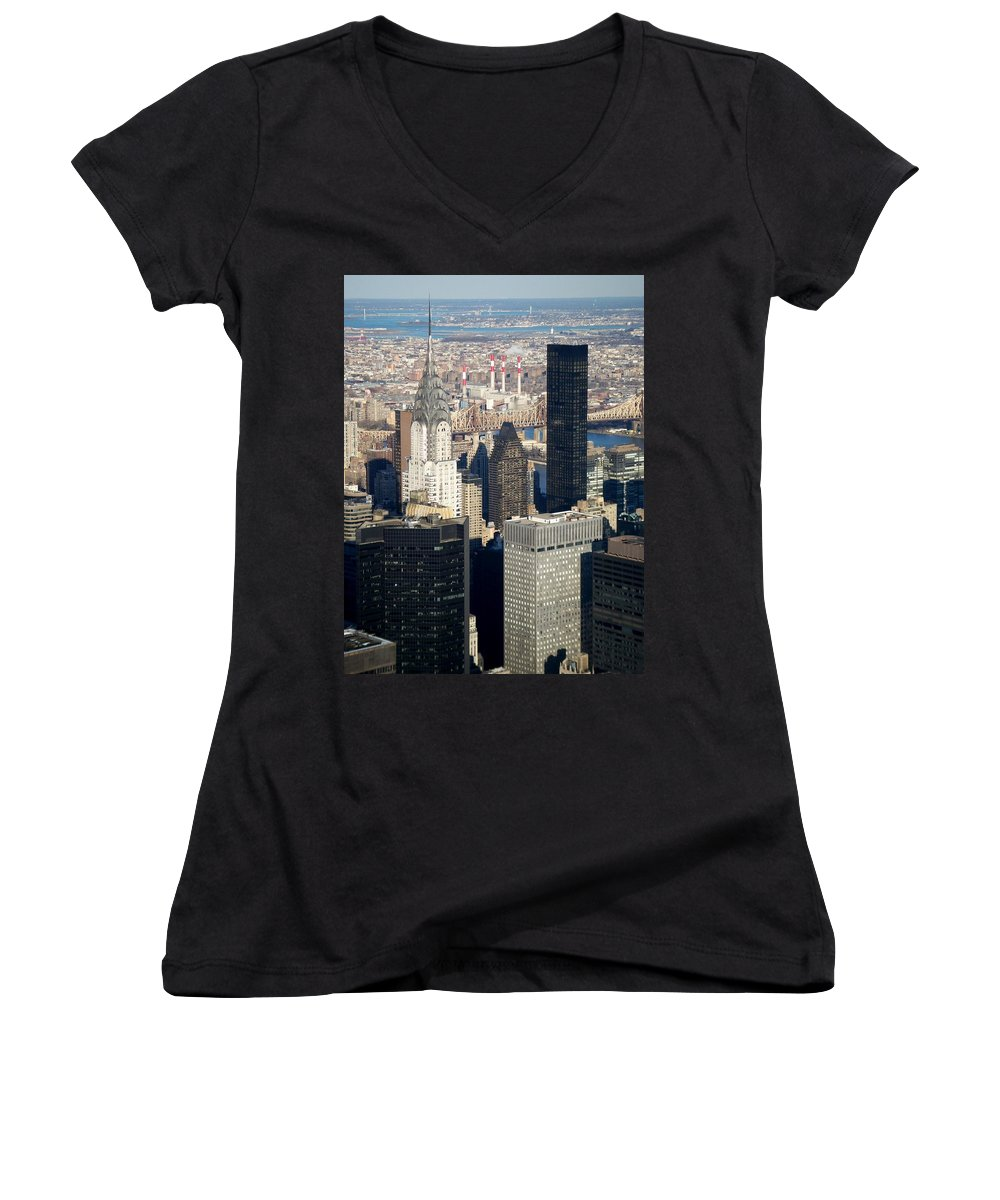 Crystler Building Women's V-Neck T-Shirt featuring the photograph Crystler Building by Anita Burgermeister