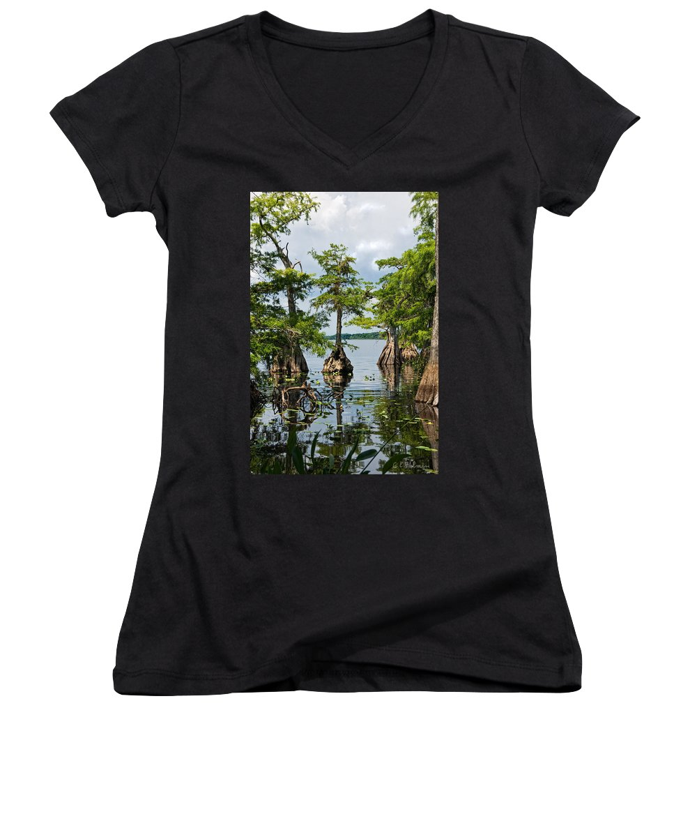 Trees Women's V-Neck T-Shirt featuring the photograph Cypress Reflections by Christopher Holmes