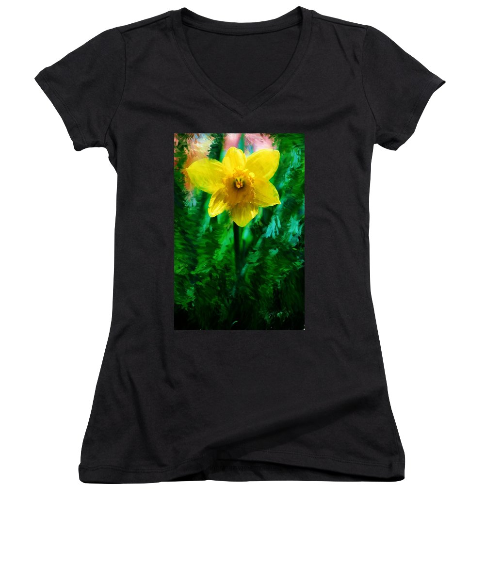 Abstract Women's V-Neck T-Shirt featuring the photograph Daffy Dill by David Lane