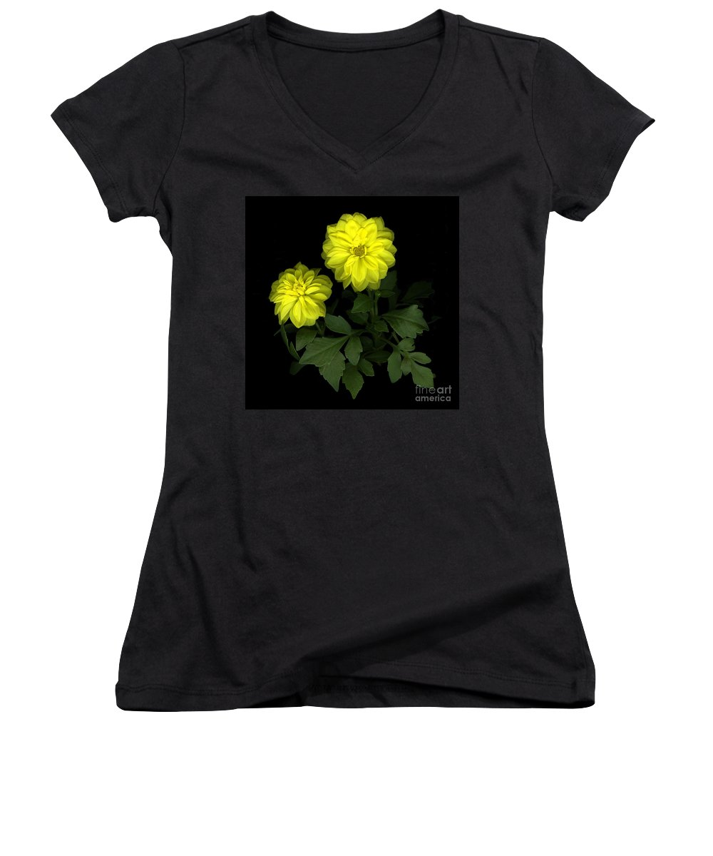 Yellow Women's V-Neck (Athletic Fit) featuring the photograph Dahlia by Christian Slanec