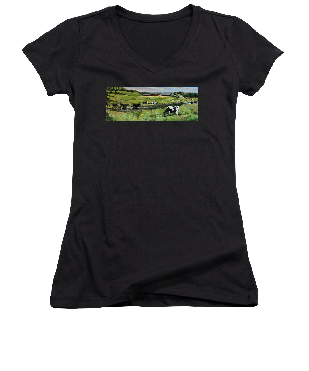 Landscape Women's V-Neck T-Shirt featuring the painting Dairy Farm Dream by Nancy Griswold