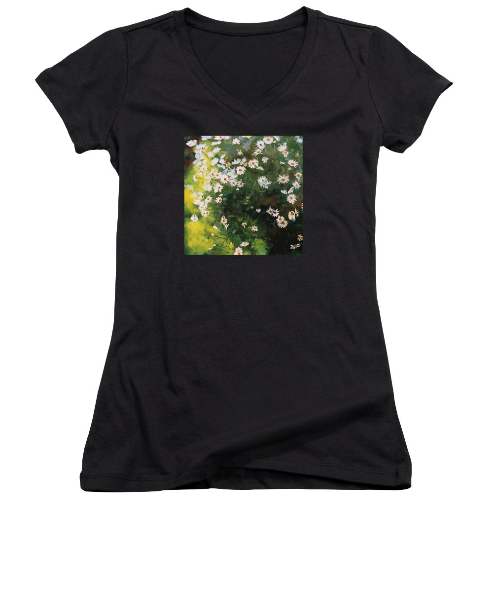Daisies Women's V-Neck T-Shirt featuring the painting Daisies by Iliyan Bozhanov
