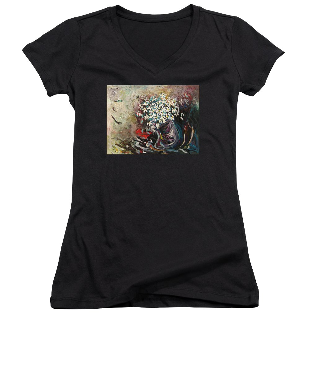 Daisy Paintings Women's V-Neck T-Shirt featuring the painting Daisy In Vase3 by Seon-Jeong Kim
