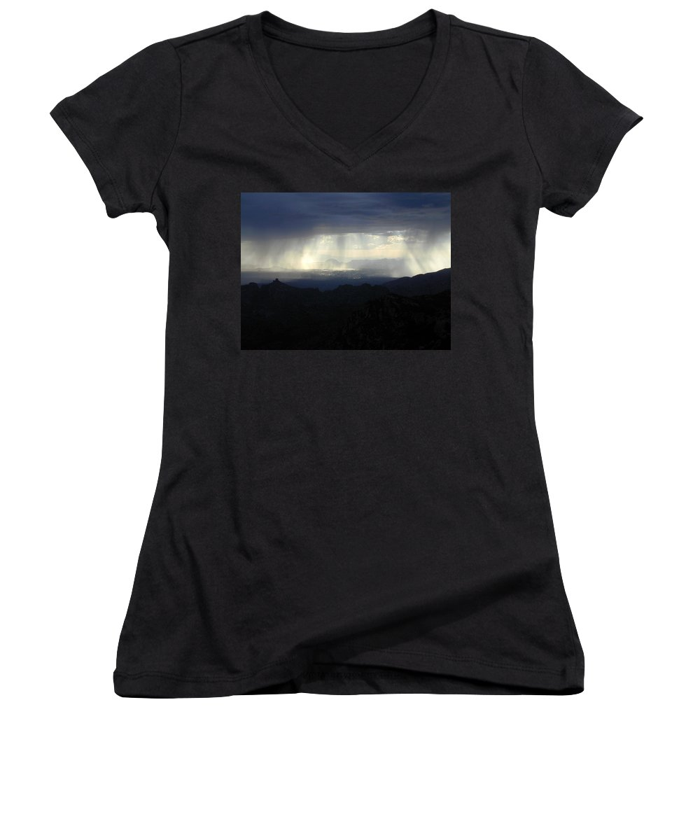 Darkness Women's V-Neck (Athletic Fit) featuring the photograph Darkness Over The City by Douglas Barnett