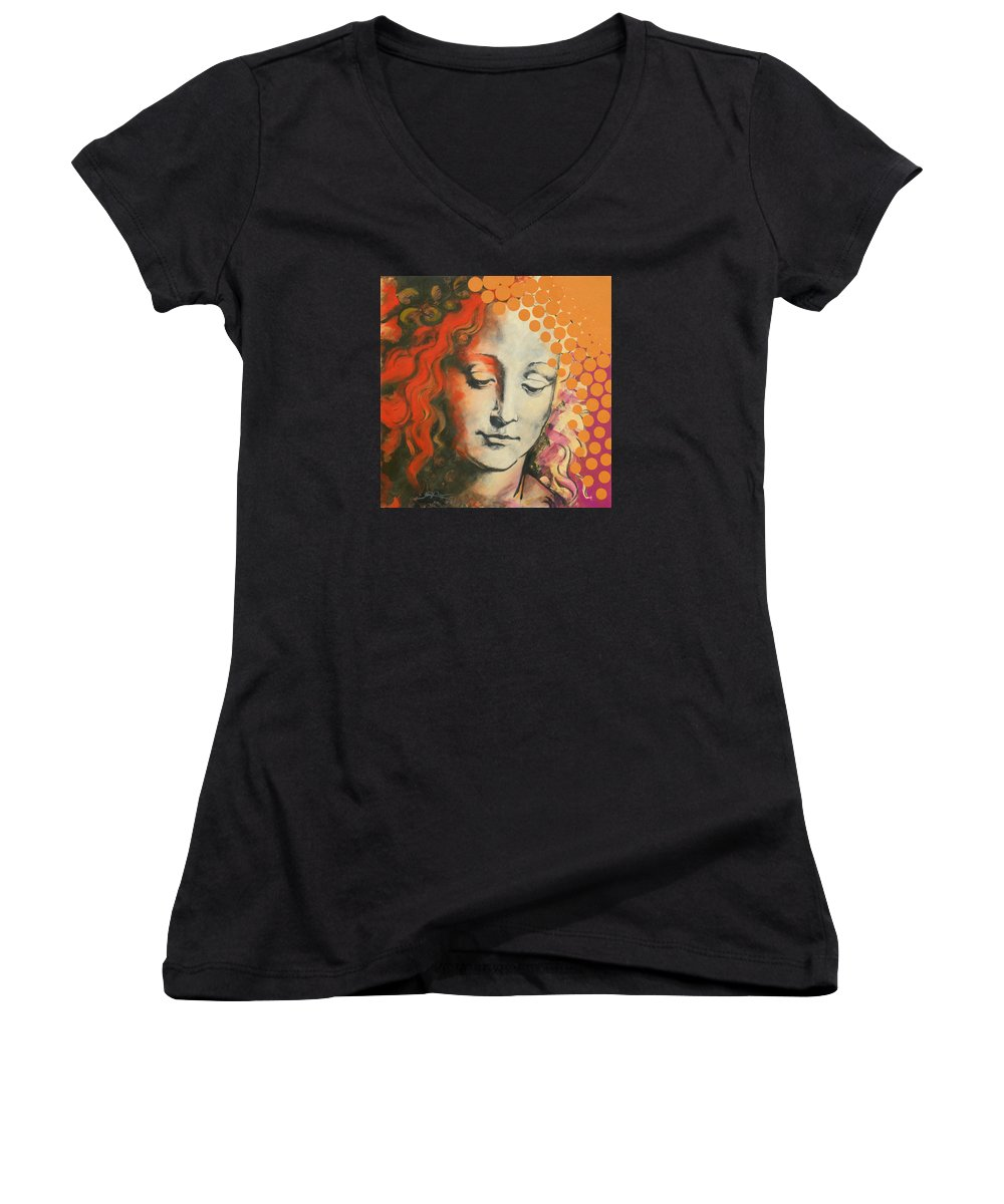 Figurative Women's V-Neck T-Shirt featuring the painting Davinci's Head by Jean Pierre Rousselet