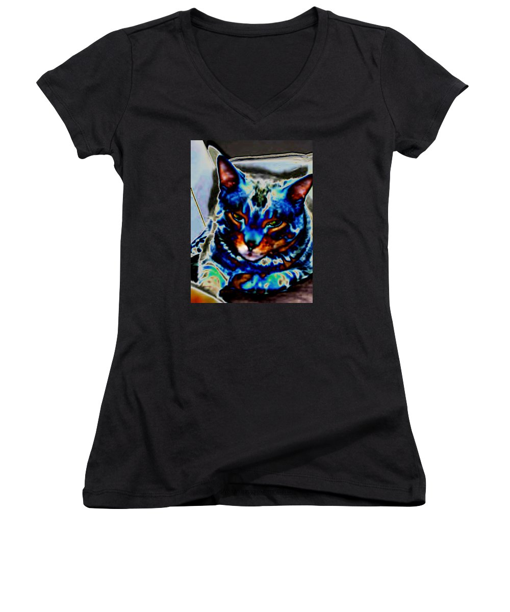 Cat Women's V-Neck (Athletic Fit) featuring the photograph Day Dreamer by Dawn Johansen